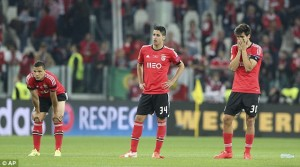 Disappointed Benfica players